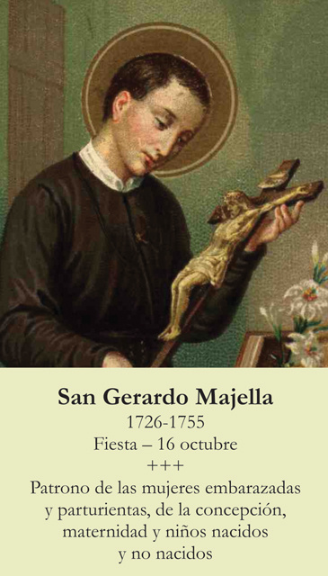 *SPANISH* St. Gerard Prayer Card (Patron of Pregnancy/Motherhood)